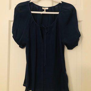 Joie Berkeley Short Sleeve Navy Silk Blouse Size L
